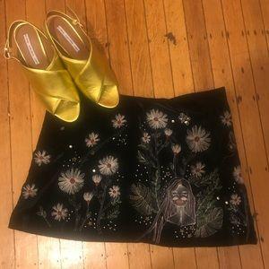 NWOT velvet Zara embroidered skirt